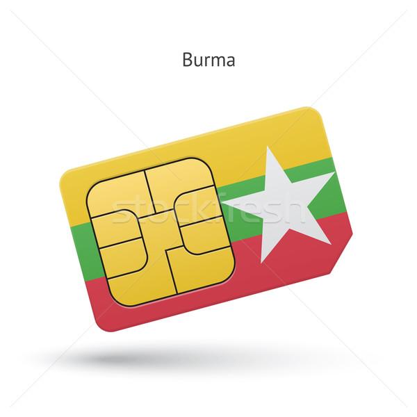 Birma mobiele telefoon kaart vlag business ontwerp Stockfoto © tkacchuk