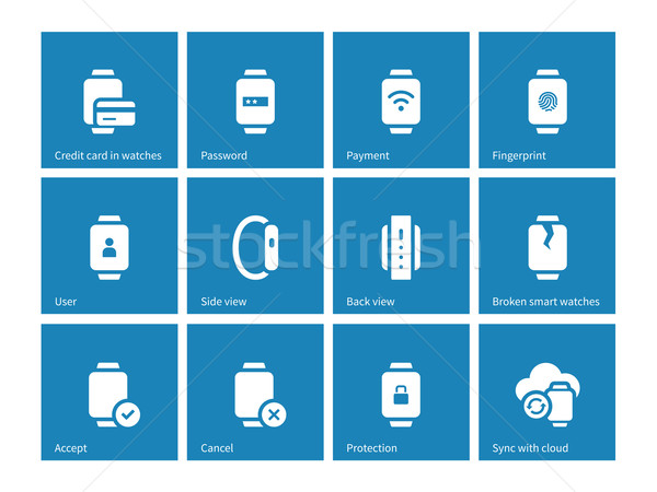 Payment with smart watch icons on blue background. Stock photo © tkacchuk