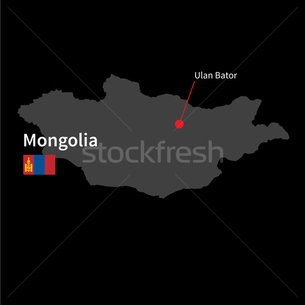 Gedetailleerd kaart Mongolië stad vlag zwarte Stockfoto © tkacchuk