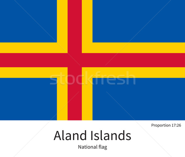 National flag of Aland Islands with correct proportions, element, colors Stock photo © tkacchuk