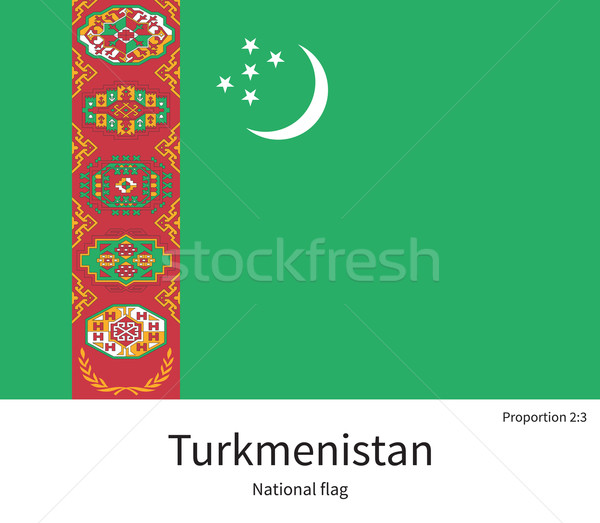 National flag of Turkmenistan with correct proportions, element, colors Stock photo © tkacchuk