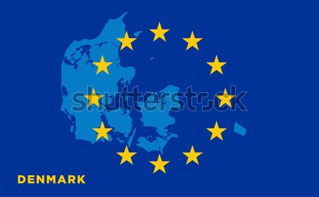 Flag of European Union with Denmark on background Stock photo © tkacchuk