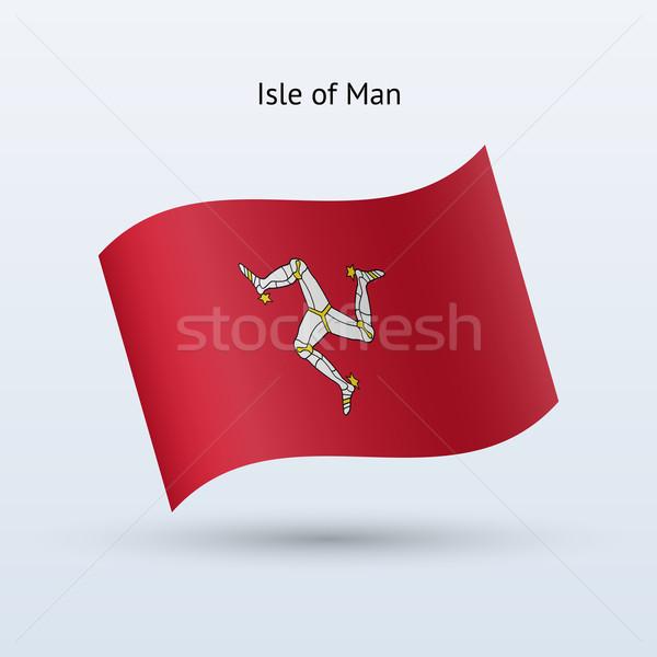 Isle of Man flag waving form. Vector illustration. Stock photo © tkacchuk