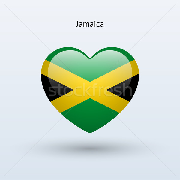 Love Jamaica symbol. Heart flag icon. Stock photo © tkacchuk