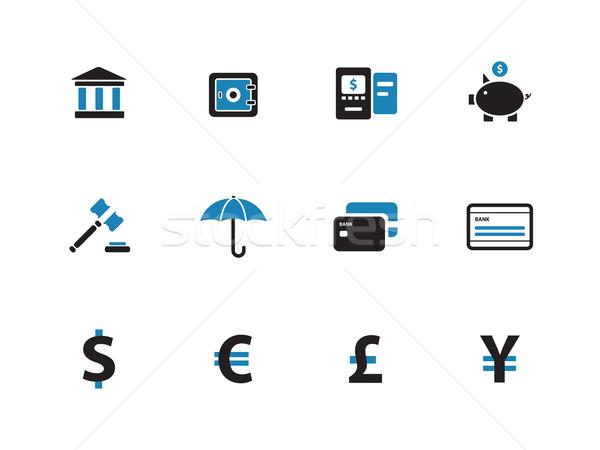 Banking duotone icons on white background. Stock photo © tkacchuk