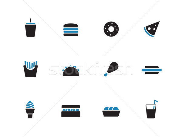 Fast food duotone icons on white background. Stock photo © tkacchuk
