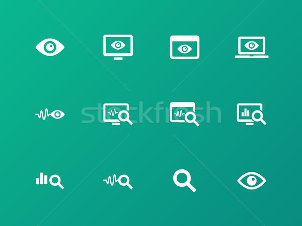 Ellenőrzés ikonok zöld megfigyelés számítógép szem Stock fotó © tkacchuk