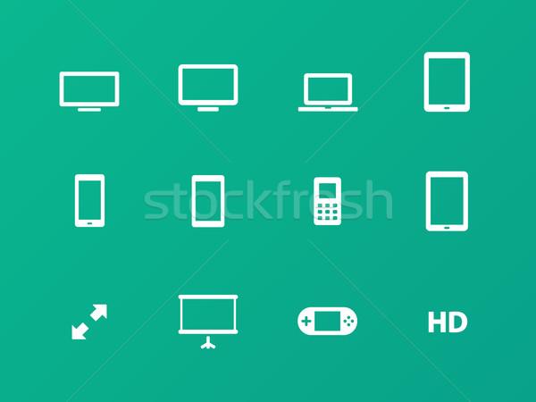 Screens icons on green background. Stock photo © tkacchuk