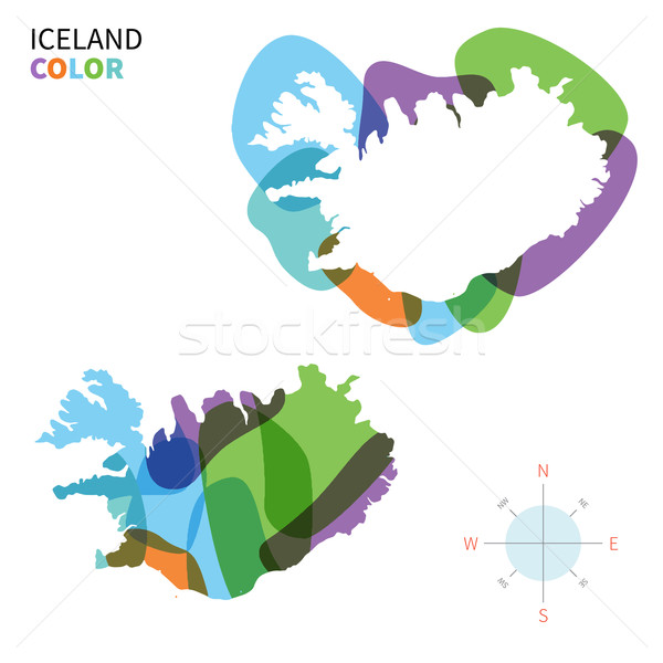 Abstract vector color map of Iceland with transparent paint effect. Stock photo © tkacchuk