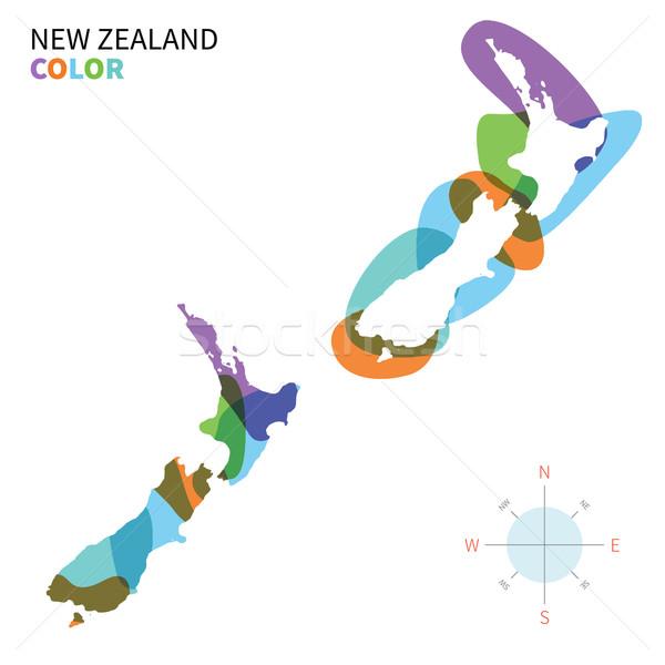 Abstrato vetor cor mapa Nova Zelândia transparente Foto stock © tkacchuk