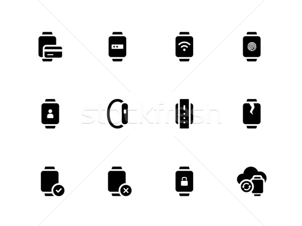 Smart watch with payment function icons on white background. Stock photo © tkacchuk