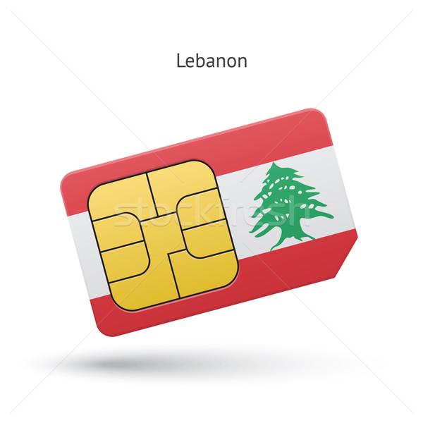 ストックフォト: レバノン · 携帯電話 · カード · フラグ · ビジネス · デザイン
