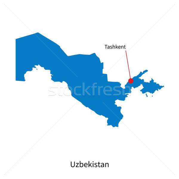 Detailed vector map of Uzbekistan and capital city Tashkent Stock photo © tkacchuk