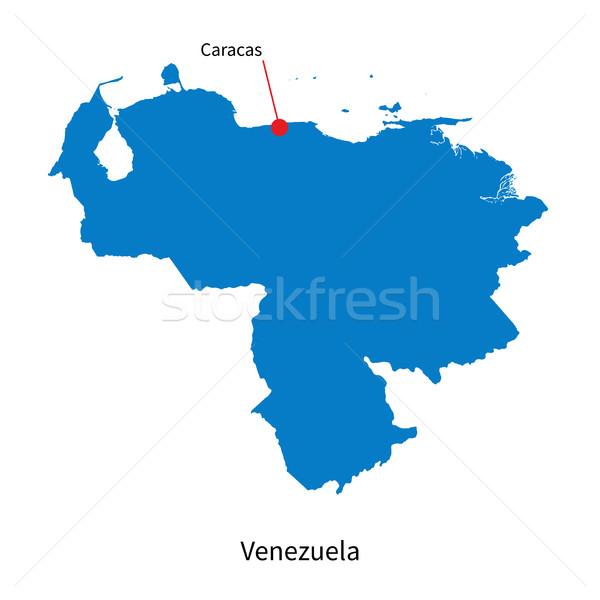 Detailed vector map of Venezuela and capital city Caracas Stock photo © tkacchuk