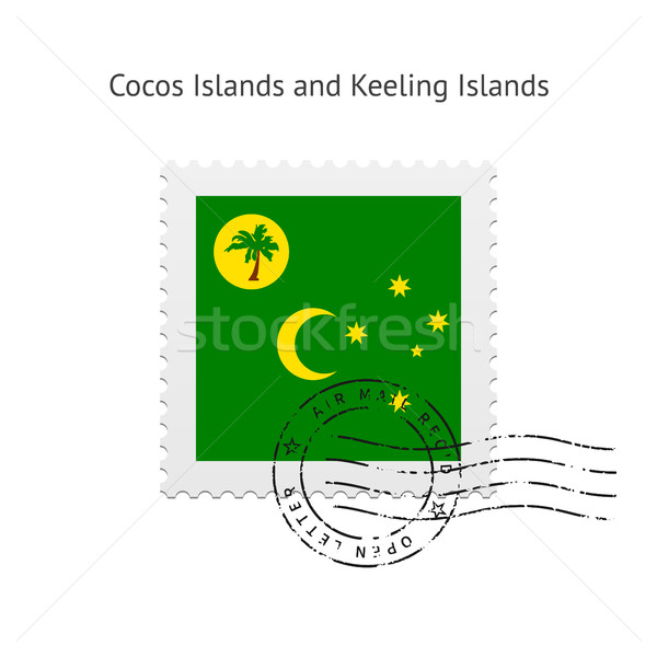 Cocos Islands and Keeling Islands Flag Postage Stamp. Stock photo © tkacchuk
