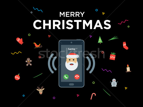 Christmas telefoongesprek kerstman wenskaart gelukkig nieuwjaar groet Stockfoto © tkacchuk