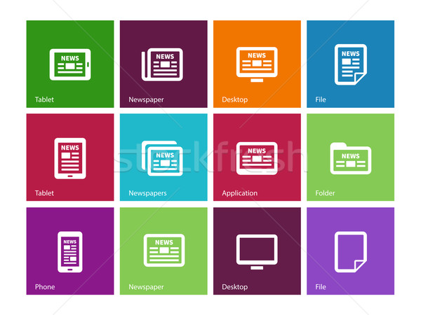 Newspaper icons on color background. Stock photo © tkacchuk