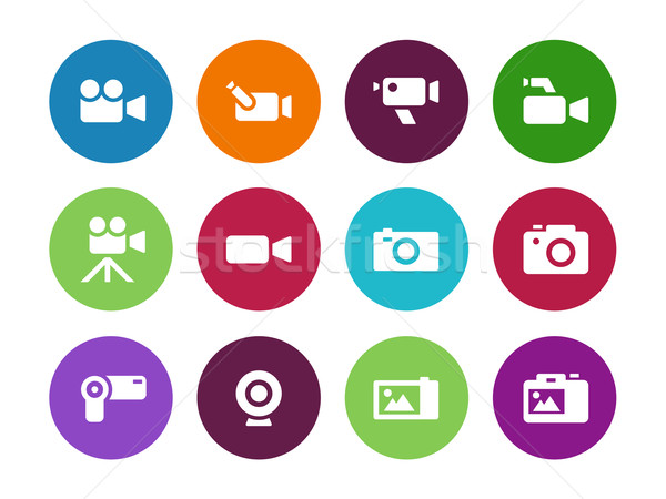 Camera circle icons on white background. Stock photo © tkacchuk