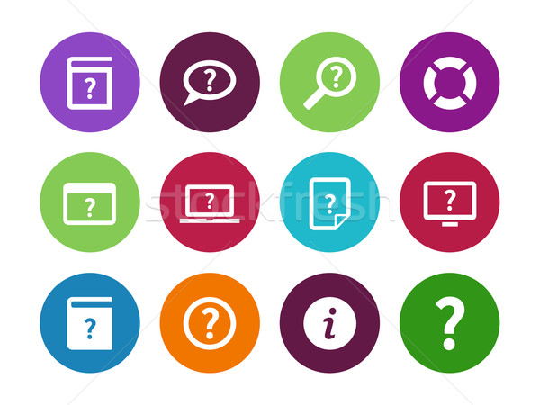 Help and FAQ circle icons on white background. Stock photo © tkacchuk