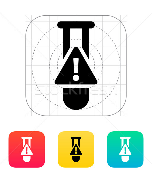 Test tube with warning sign icon. Vector illustration. Stock photo © tkacchuk