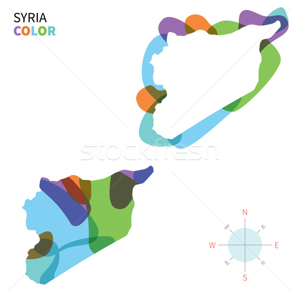 Abstract vector color map of Syria with transparent paint effect. Stock photo © tkacchuk