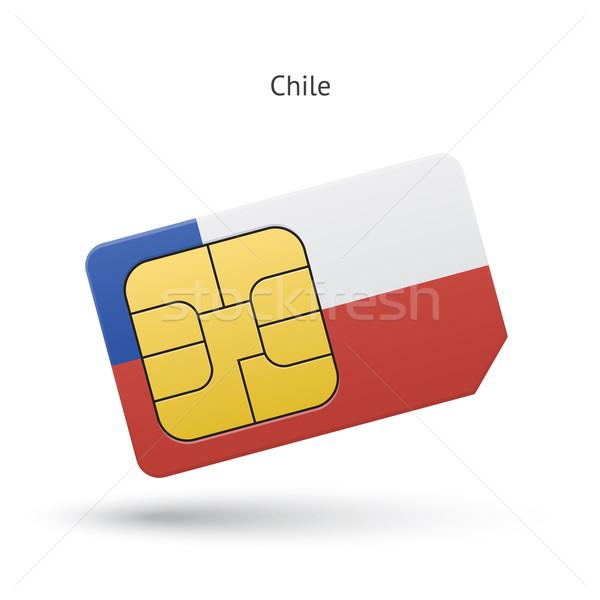 Chile mobiltelefon kártya zászló üzlet terv Stock fotó © tkacchuk