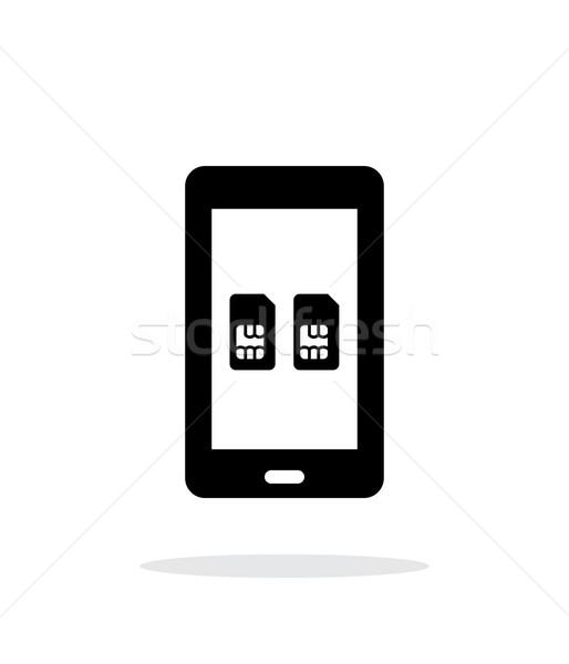Dual SIM mobile phone simple icon on white background. Stock photo © tkacchuk