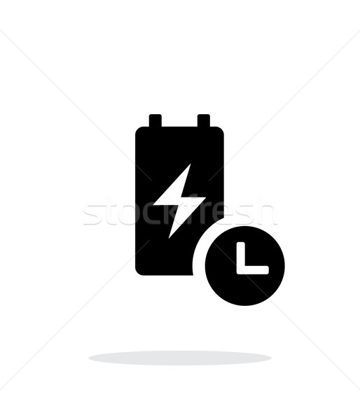 Bateria viver tempo simples ícone branco Foto stock © tkacchuk
