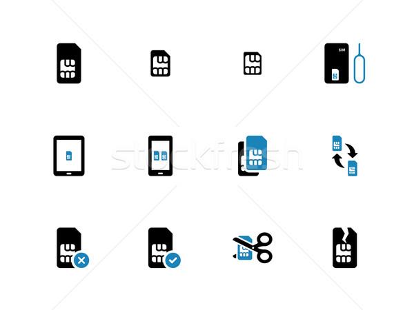 Mobile communications cards duotone icons on white background. Stock photo © tkacchuk