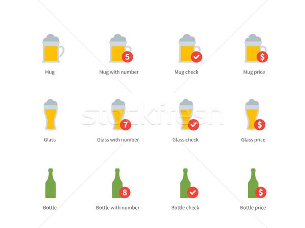 Beer colour icons on white background Stock photo © tkacchuk