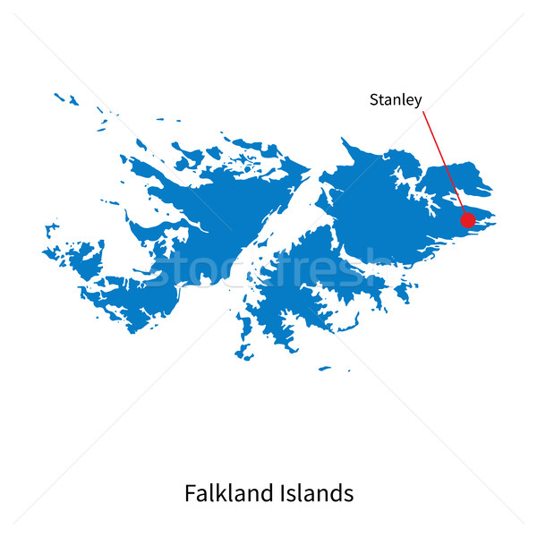 Detailed vector map of Falkland Islands and capital city Stanley Stock photo © tkacchuk