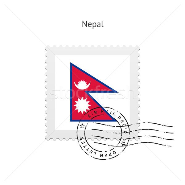 Nepál zászló postabélyeg fehér felirat levél Stock fotó © tkacchuk