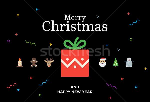 Christmas Gift with red ball, tree, snowman, deer and Santa Stock photo © tkacchuk