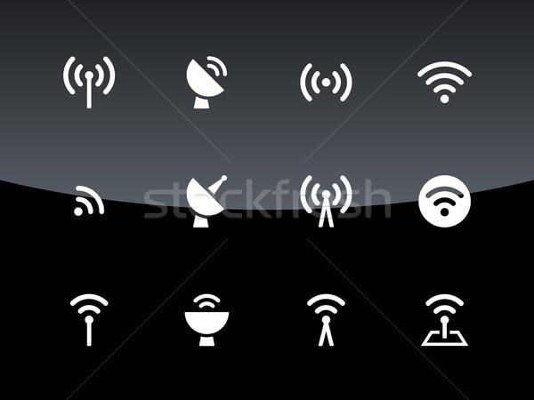 Radio Turm Symbole schwarz Wireless-Technologie Computer Stock foto © tkacchuk