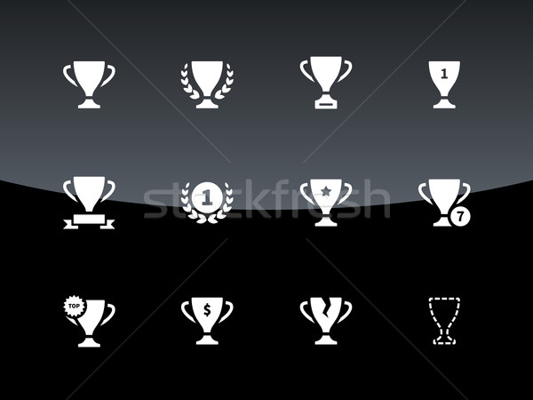 Awards and cup icons on black background. Stock photo © tkacchuk