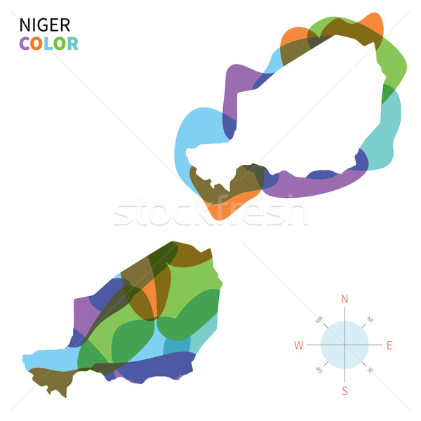 Abstract vector color map of Niger with transparent paint effect. Stock photo © tkacchuk