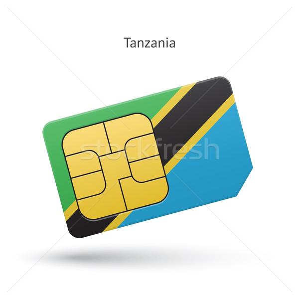 Tanzania telefonu komórkowego karty banderą działalności projektu Zdjęcia stock © tkacchuk