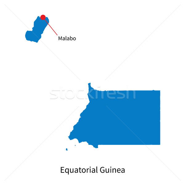 Detailed vector map of Equatorial Guinea and capital city Malabo Stock photo © tkacchuk