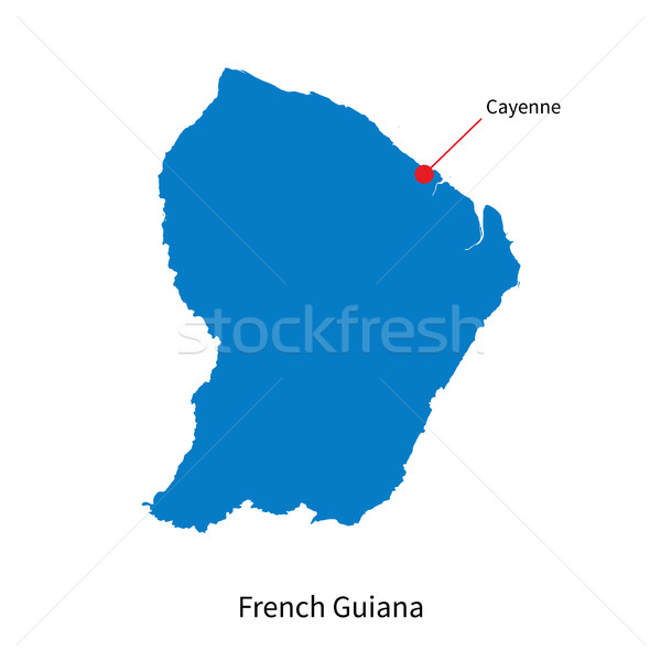 Detailed vector map of French Guiana and capital city Cayenne Stock photo © tkacchuk