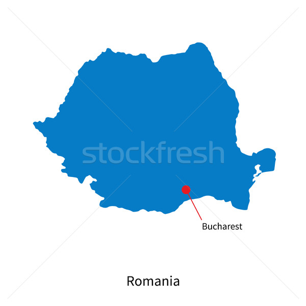 Detailed vector map of Romania and capital city Bucharest Stock photo © tkacchuk
