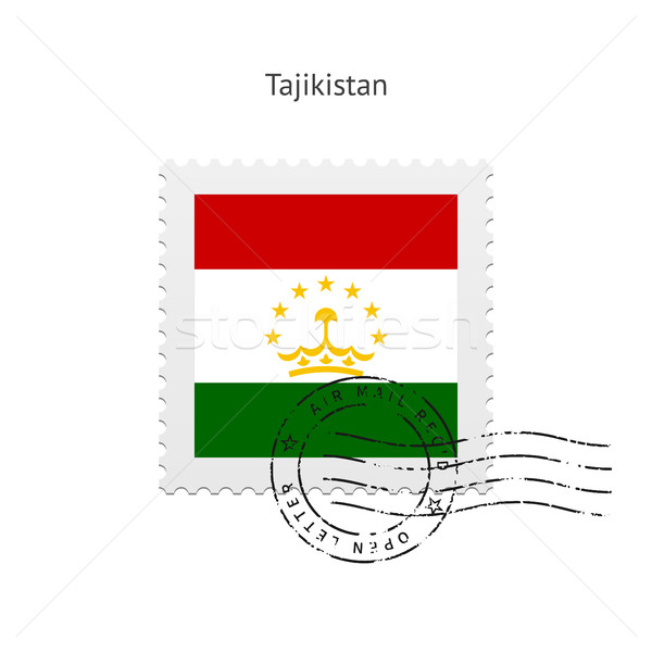 Tádzsikisztán zászló postabélyeg fehér felirat levél Stock fotó © tkacchuk