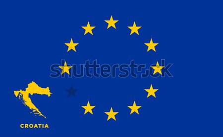 EU flag with Croatia country. European Union membership Croatia Stock photo © tkacchuk