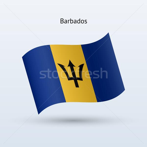 Barbados flag waving form. Vector illustration. Stock photo © tkacchuk
