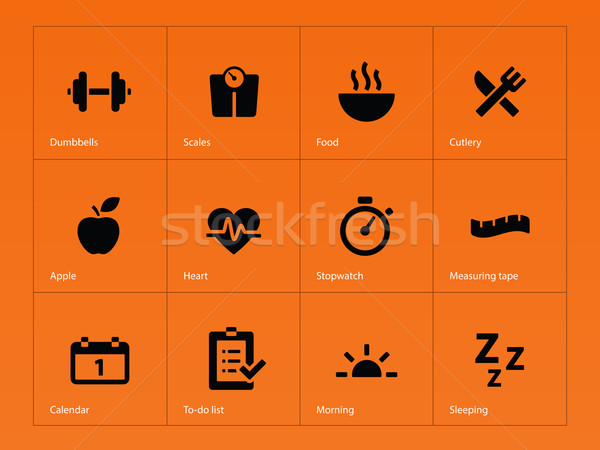 Stock photo: Fitness icons on orange background.
