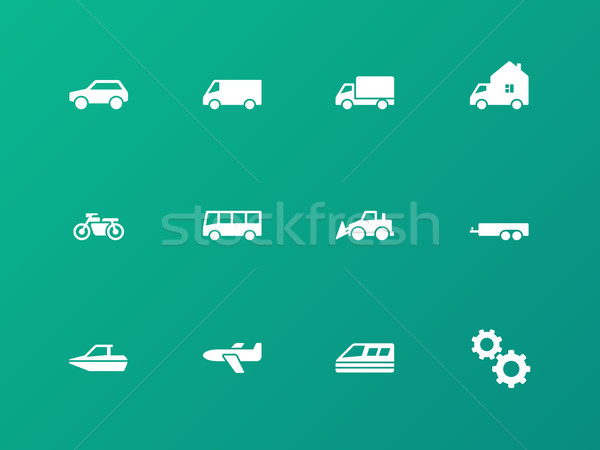 Cars and Transport icons on green background. Stock photo © tkacchuk