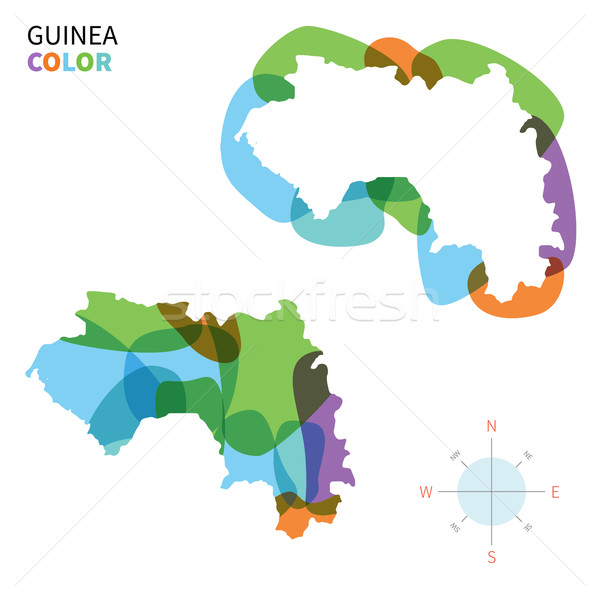 Abstract vector color map of Guinea with transparent paint effect. Stock photo © tkacchuk
