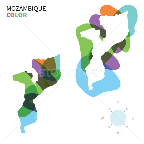 Abstract vector color map of Mozambique with transparent paint effect. Stock photo © tkacchuk