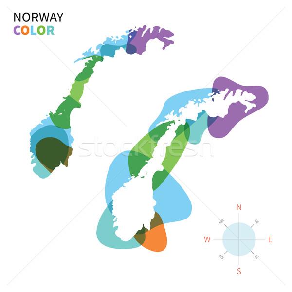 抽象的な ベクトル 色 地図 ノルウェー 透明な ストックフォト © tkacchuk