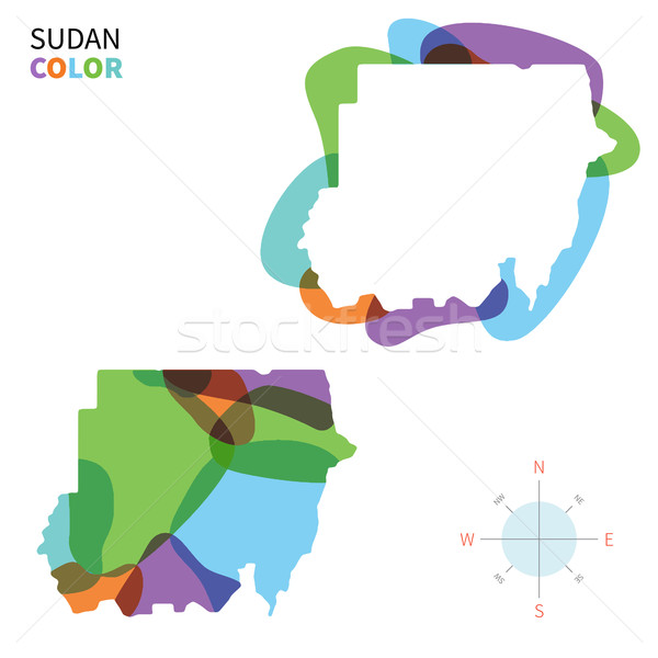Abstract vector color map of Sudan with transparent paint effect. Stock photo © tkacchuk