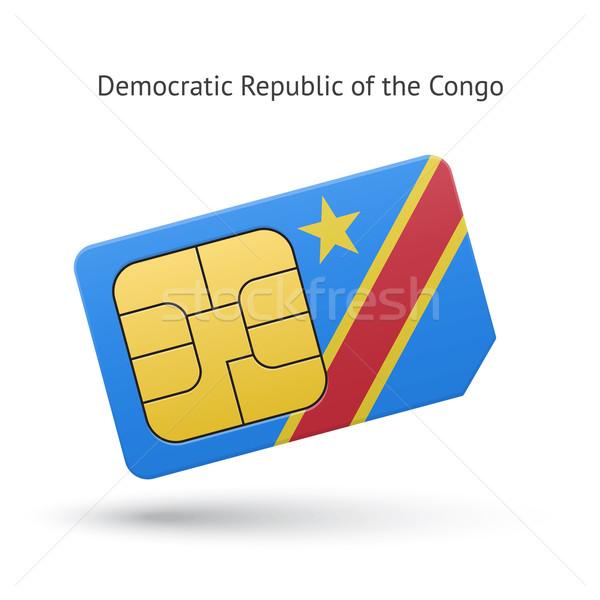 Demokratikus köztársaság Kongó telefon kártya zászló Stock fotó © tkacchuk